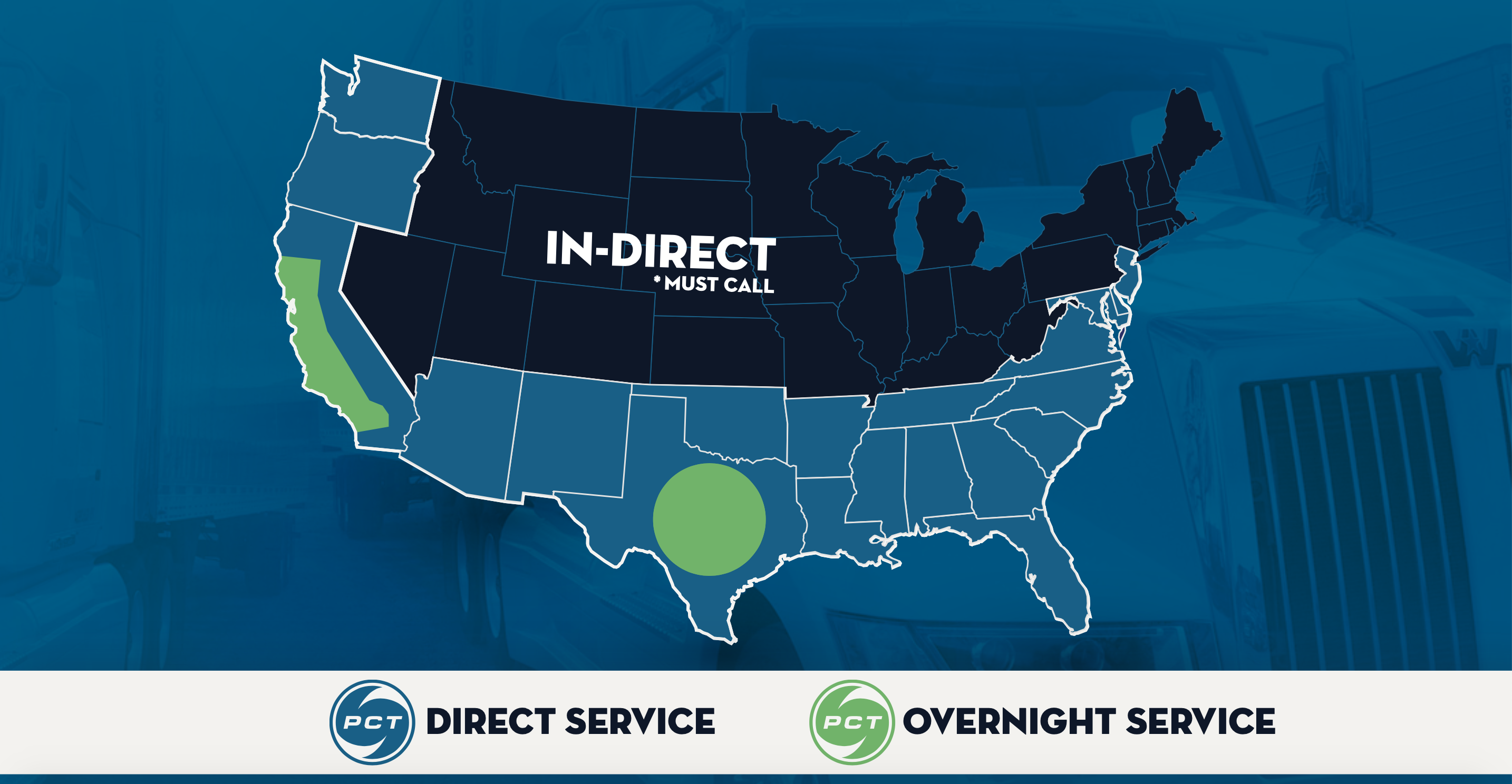 map of united states showing direct vs overnight service